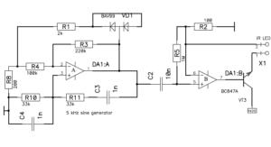Схема компьютерного фотоплетизмографа - генератор